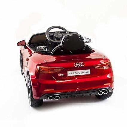 Электромобиль Audi S5 Cabriolet LUXURY красный (колеса резина, сиденье кожа, пульт, музыка)